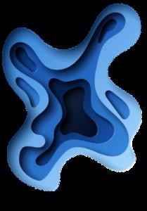Design flaque bleue FISI