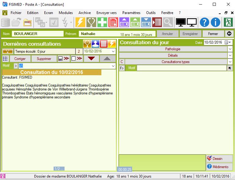 Interface écran de consultation fisimed