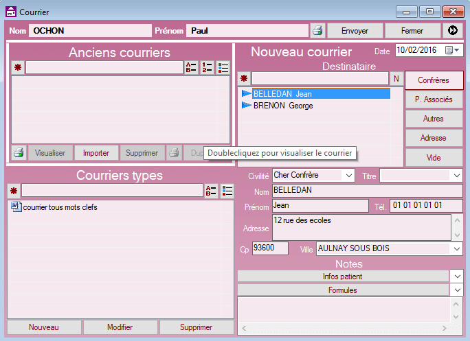 Interface courriers FISImed